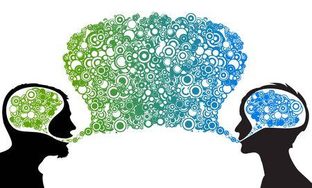 Dialog between man and woman - abstract illustration Stock Illustration - 5952492