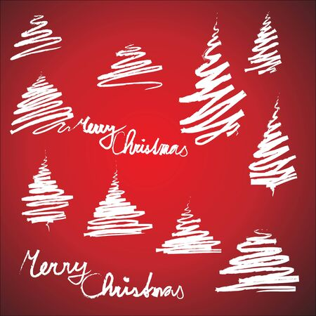 Set of Christmas trees sketches (simple and minimalistic) photo