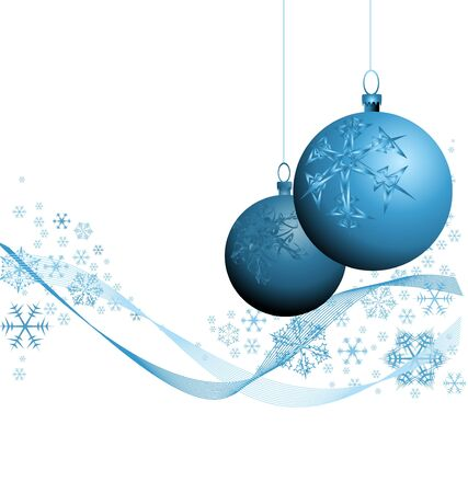 Blue Christmas decorations with snowflakes on white background photo