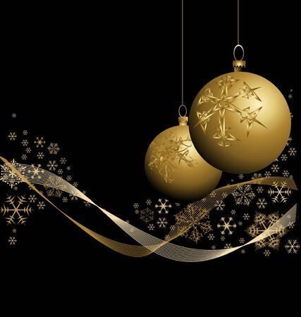 golden  gleam: Golden Christmas bauble with snowflakes on black background Stock Photo
