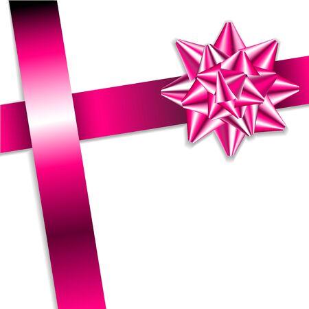 lazo rosa: Rosa arco en un lazo rosado con fondo blanco - tarjeta de Navidad