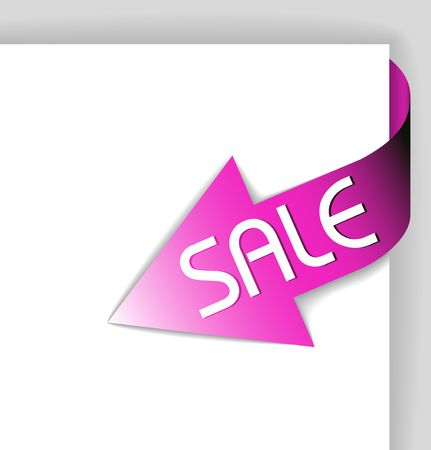 shortcut: Sale pink corner ribbon - arrow pointing at the item in sale Stock Photo