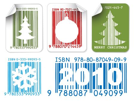 Set of color labels with Christmas bar codes photo