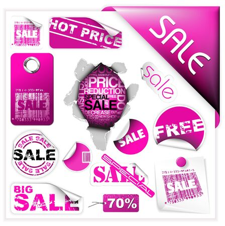 sale sticker: Set of pink sale tickets, labels, stamps, stickers, corners, tags