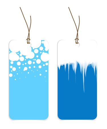 Christmas tags with snowflakes and icicles photo