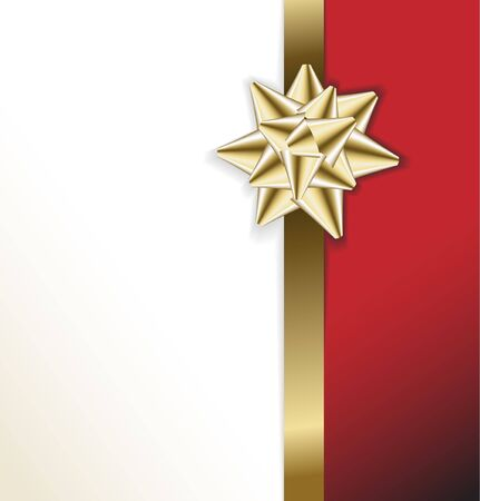 golden bow on a ribbon with white and red background - vector Christmas card photo