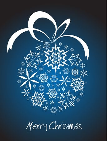 Christmas ball made from white snowflakes on blue background photo