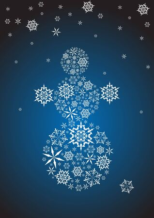 Stylized snowman made from white snowflakes photo