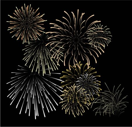 Set of silver and golden fireworks illustrations on black background illustration