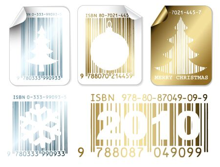 Set of silver and golden labels with Christmas bar codes  (vector) photo