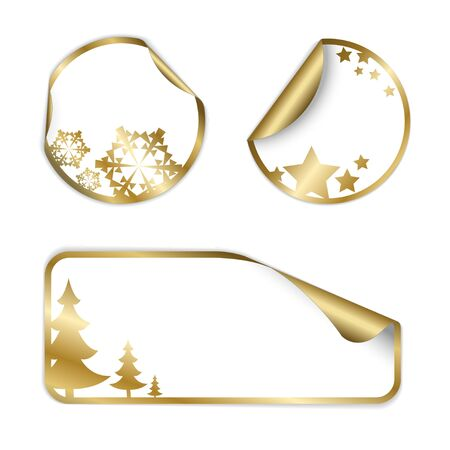 Christmas vector labels and stickers (golden and white)