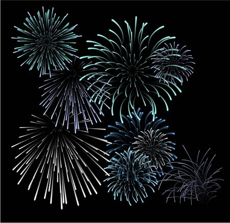 Set of blue fireworks illustrations on black background (vector) illustration