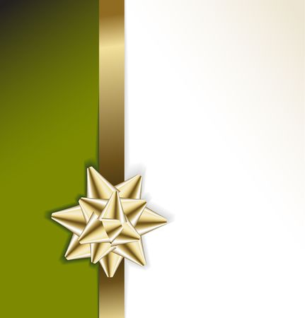 green bow: golden bow on a ribbon with white and green background - vector Christmas card