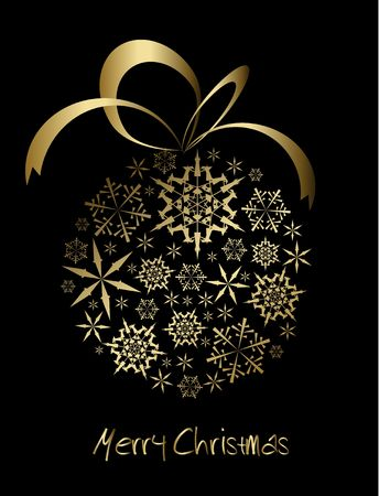 Christmas ball made from golden snowflakes on a black background (vector) photo