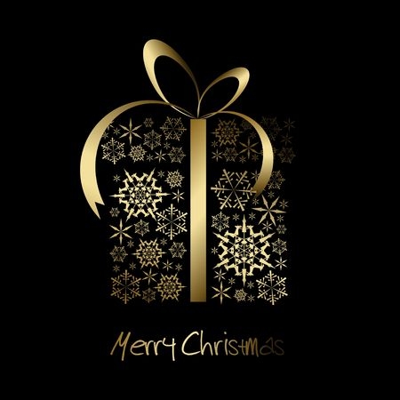 christmas present box: Christmas present box made from golden snowflakes on black (vector)