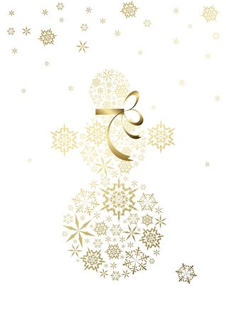 Stylized snowman made from golden snowflakes (vector) photo