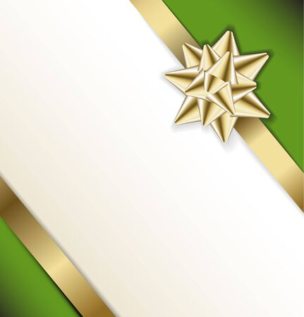 Golden bow on a ribbon with white and green background - vector Christmas card Stock Photo