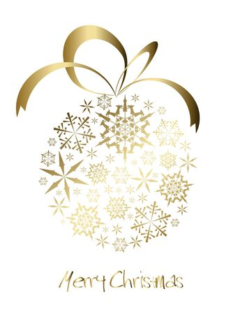 Christmas ball made from golden snowflakes on a white background (vector) photo