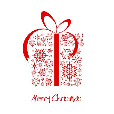 Christmas present box made from red snowflakes (vector) Stock Photo - 6162451