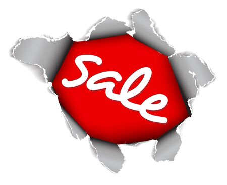 Sale discount advertisement - Hole with sale text Stock Photo - 6207015