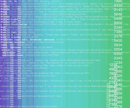 Blue and green technology background with some programming code photo