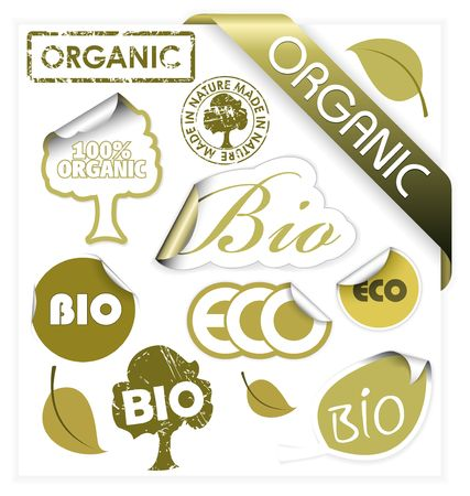 Set of bio, eco, organic elements - labels, stickers, stamps, ribbons photo