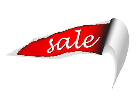 creation of sites: ripped paper - background for items in sale (red) Stock Photo