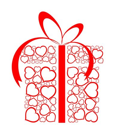 yearning: Stylized love present box made from red hearts (vector)