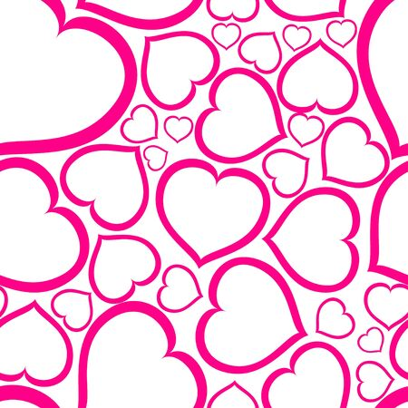 yearning: Love seamless vector pattern made from pink hearts (valentine day card)