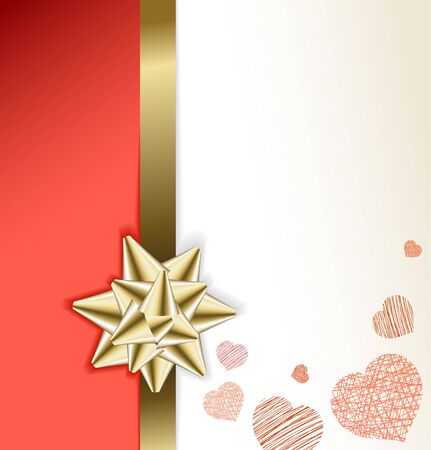 Valentine card with golden bow and hearts (vector) photo