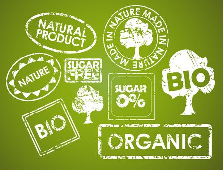 Set of stamps for organic, fresh, healthy, bio food photo