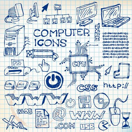 pencil sketch: Set of hand-drawn computer icons  on checkered paper