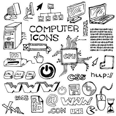 printer drawing: Set of hand-drawn computer icons