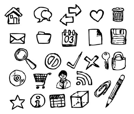 Set of doodle computer icons for your webdesign photo