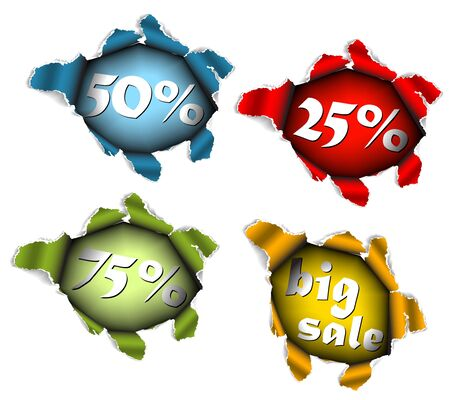 Sale discount advertisement - Hole with percentage sales Stock Photo - 6484725