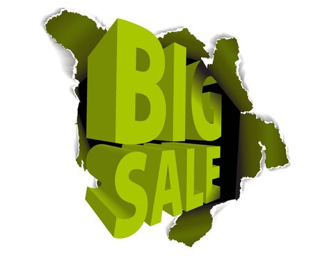 Big sale discount advertisement - Hole with sale text Stock Photo - 6484728