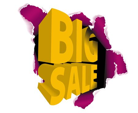 Big sale discount advertisement - Hole with sale text  Stock Photo - 6484723