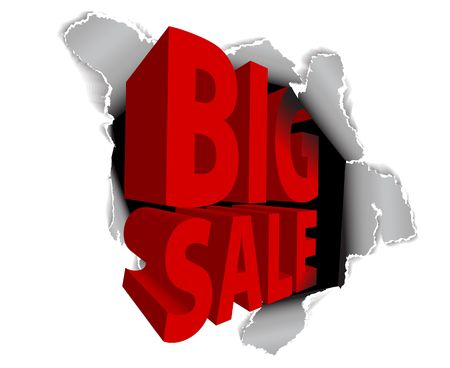 Big sale discount advertisement - Hole with sale text Stock Photo - 6484730