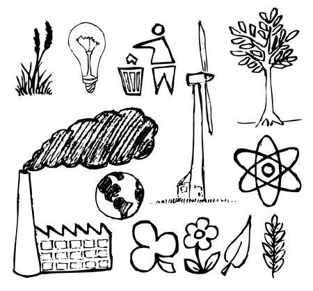 polution: Set of ecology hand-drawn icons - doodles