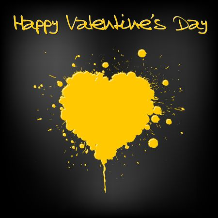 Grunge Valentines day card - heart from yellow  spatters Stock Photo - 6484808