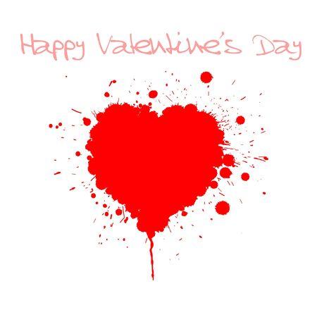 Grunge Valentines day card - heart from spatters Stock Photo - 6484732
