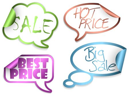 Set of Sale Comic Clouds and bubbles as stickers and labels with colorful borders Stock Photo - 6484731