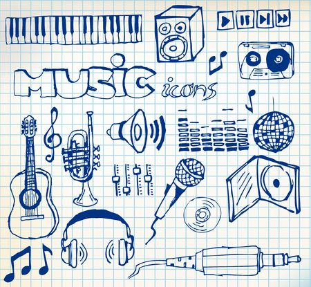 Set of music hand-drawn icons on squared paper  photo