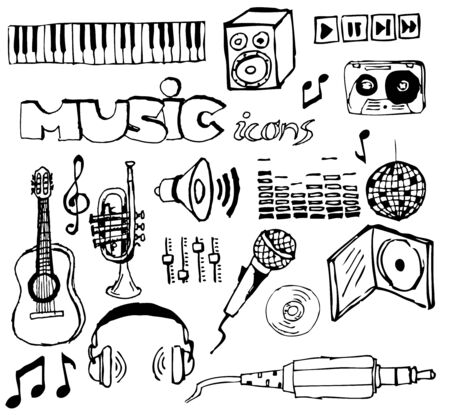Set of music hand-drawn icons  photo