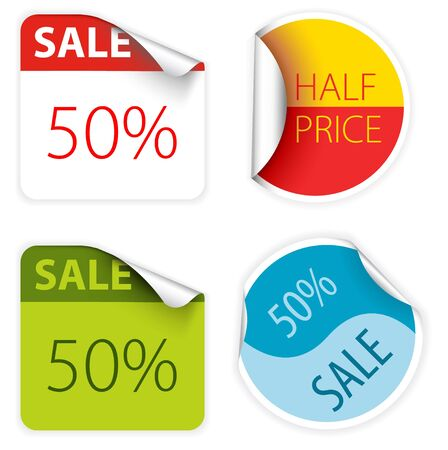 dual: Set of fresh two colors sale labels and stickers