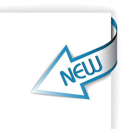 nastro angolo: Nuovo angolo blu nastro - freccia rivolta verso il contenuto  Archivio Fotografico