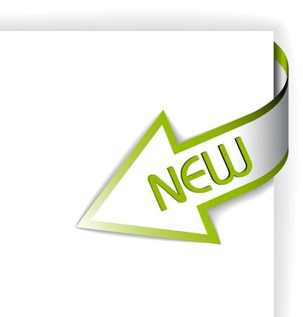 new product: New green corner ribbon - arrow pointing at the content  Stock Photo