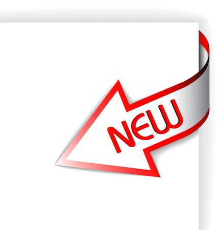 new sign: New red corner ribbon - arrow pointing at the content