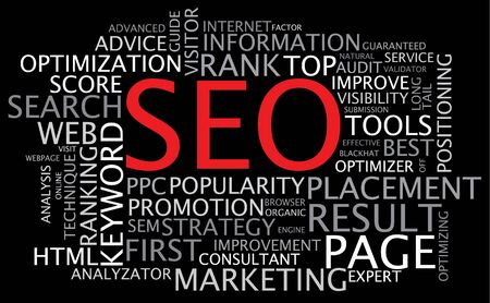 SEO -  Search Engine Optimization poster on black background photo