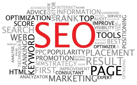 keywords: SEO - Search Engine Optimization poster - black and white
